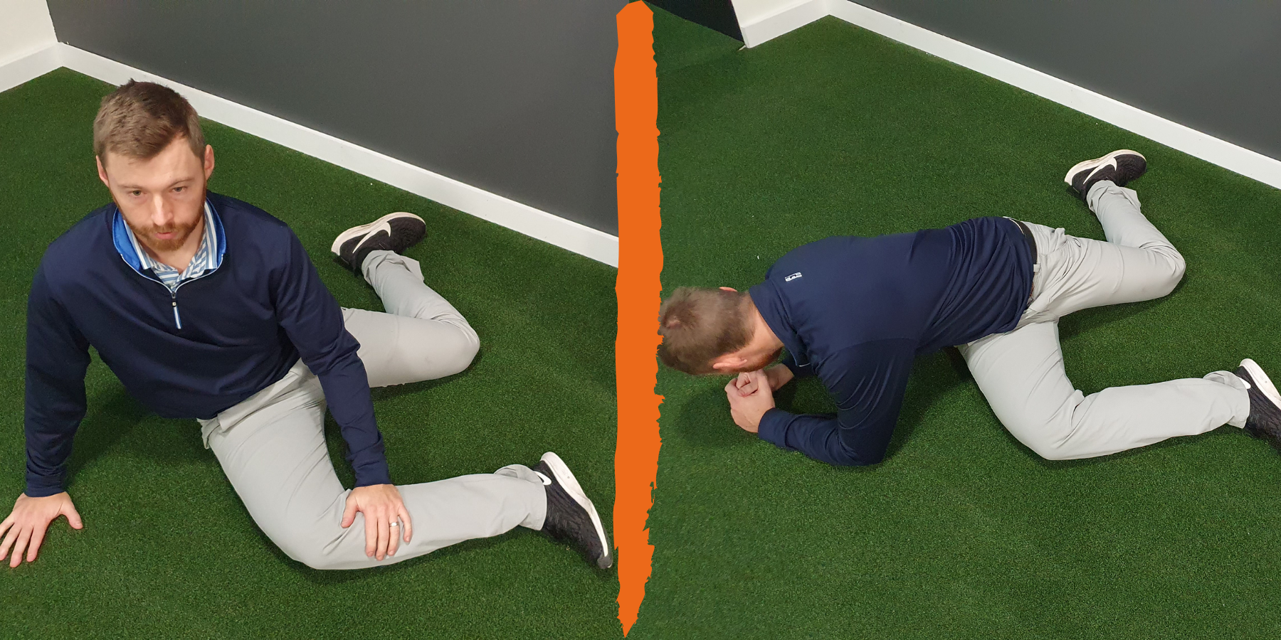 man stretching his hips and back
