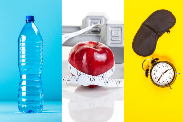 water bottle, apple with weights and sleep mask and alarm
