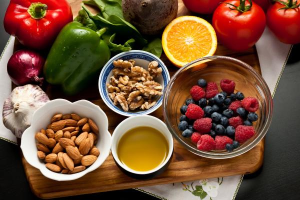walnuts, berries, honey, bell peppers, tomatoes