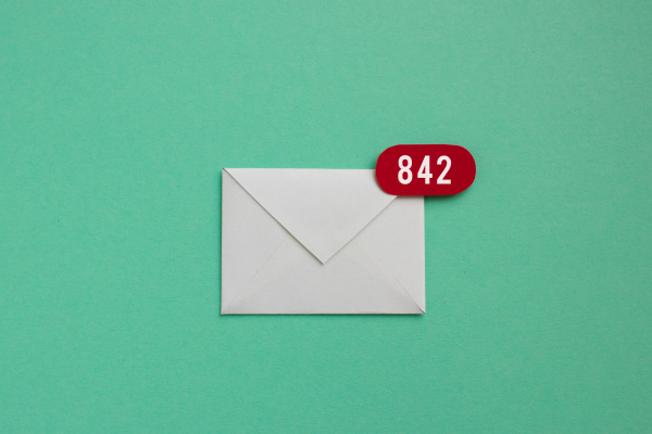 mail icon with 842 unread emails.